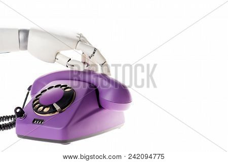 Robot Hand Touching Ultra Violet Retro Stationary Telephone Isolated On White