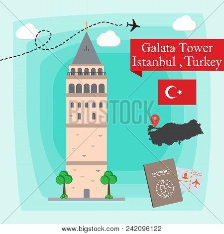 Galata Tower, Istanbul Turkey Concept Vector Illustration