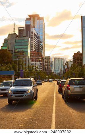 Isidora Goyenechea Modern and wealthy neighborhood, Las Condes district, Santiago, Chile poster