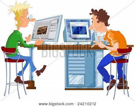 designer and programmer working