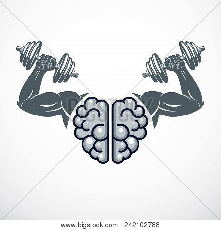 Power Brain Emblem, Genius Concept. Vector Design Of Human Anatomical Brain With Strong Bicep Hands