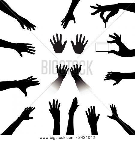 Menschen Hände Silhouetten Satz.
