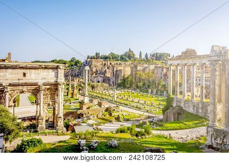 Roman Forum In Rome, Italy. Rome Landmark And Antique Architecture. Ancient Forum Was The Center Of