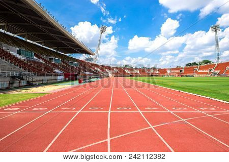 Red Running Track Start Point In Athletic Stadium From Bangkok Thailand On 2017