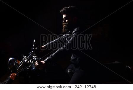 Night Rider Concept. Hipster, Brutal Biker In Leather Jacket Riding Motorcycle At Night Time, Copy S