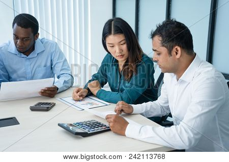 International Marketing Group Having Annual Meeting. Corporate Team Of Experts Sitting At Conference