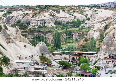 Goreme, Turkey - May 5, 2018: Above View Of Urban Square In Goreme Town In Spring. Goreme Is Town In