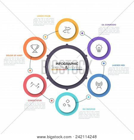 Six multicolored round elements with thin line icons inside placed around central circle. Cyclical diagram with 6 options concept. Modern infographic design layout. Vector illustration for brochure. poster