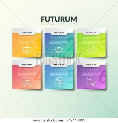 Six Separate Multicolored Rectangular Elements With Numbers, Thin Line Icons And Place For Text. Con