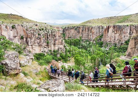 Ihlara Valley, Turkey - May 6, 2018: Visitors Walk To Ihlara Valley In Aksaray Province. Ihlara Vall