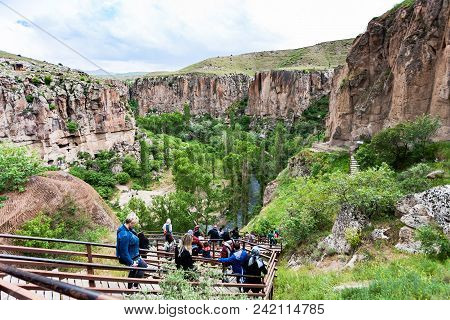 Ihlara Valley, Turkey - May 6, 2018: People On Stair To Ihlara Valley In Aksaray Province. Ihlara Va