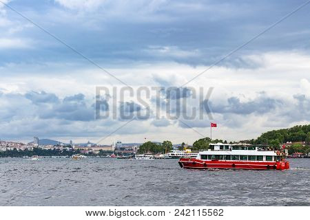 Istanbul, Turkey - May 11, 2018: People On Excursion Boat In Golden Horn Bay In Istanbul City. Istan