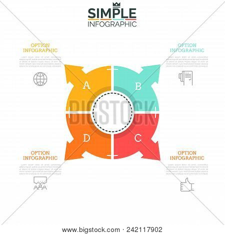 Pie chart divided into 4 sectors with arrows pointing at icons and text boxes. Web interface element, concept of navigation tool with four options. Infographic design layout. Vector illustration. poster