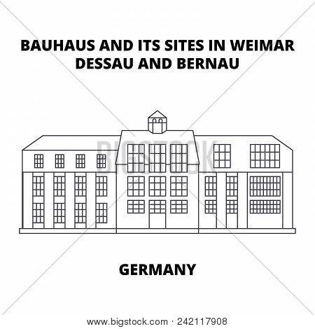 Bauhaus, Dessau, Germany line icon concept. Bauhaus, Dessau, Germany linear vector sign, symbol, illustration. poster