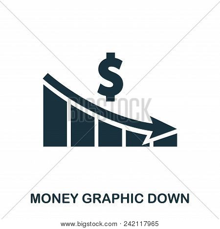 Money Graphic Down Icon. Flat Style Icon Design. Ui. Illustration Of Money Graphic Down Icon. Pictog