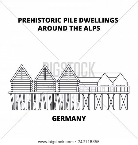 Germany, Prehistoric Pile Dwellings Around The Alps Line Icon, Vector Illustration. Germany, Prehist