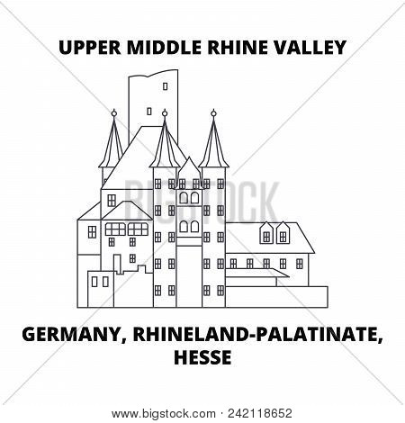 Germany, Rhineland-palatinate, Hesse, Upper Middle Rhine Valley Line Icon, Vector Illustration. Germ