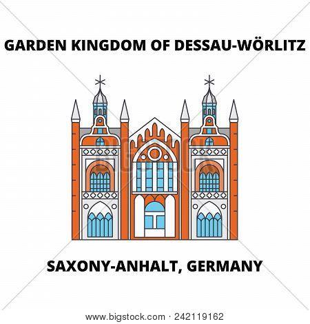 Garden Kingdom Of Dessau-worlitz, Saxony-anhalt, Germany Line Icon Concept. Garden Kingdom Of Dessau