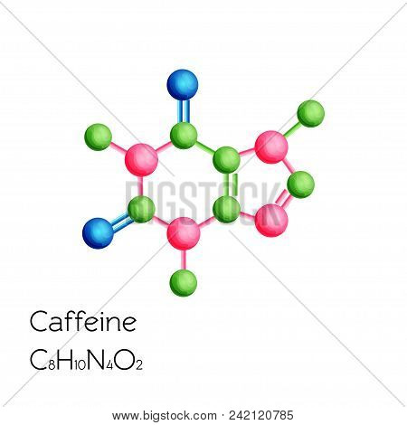 Caffeine structural chemical formula isolated on white background. Cartoon style vector illustration. poster