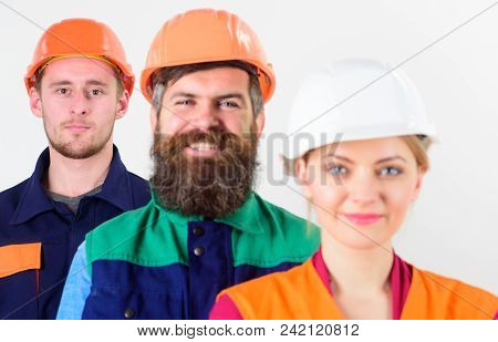Diversity In Working Collective Concept. Different People In Team Of Architects, Labourers, Builders