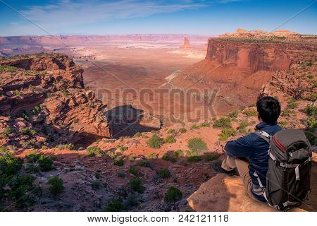 Traveler Man Relaxing Meditation With Serene View Mountains And Lake Landscape, Travel Lifestyle Hik