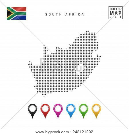 Dotted Map Of South Africa. Simple Silhouette Of South Africa. The National Flag Of South Africa. Se
