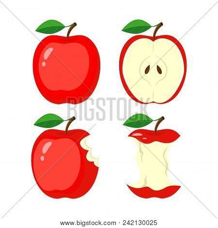 Whole Red Apple, Half Apple Slice, Bitten Apple, Stub. Vector Illustration Isolated On White Backgro