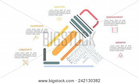 Pencil Drawn With Multicolored Lines And Surrounded By Linear Pictograms, Headings And Text Boxes. C