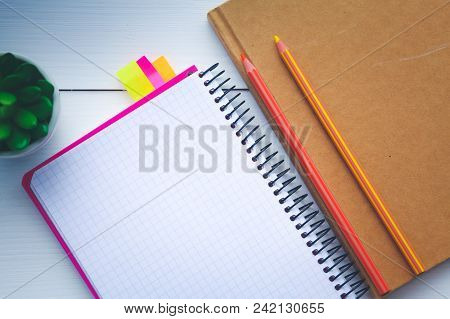 Top View Image Of Open Notebook With Blank Pages On Wooden Table. Open Notebook