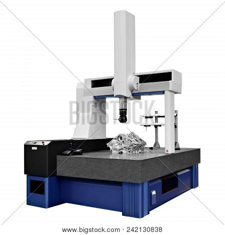 The Coordinate Measuring Cmm Machine Isolated On A White Background.  Repair Motor Block Of Cylinder