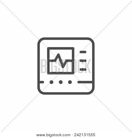 Cardiograph Line Icon Isolated On White. Vector Illustration
