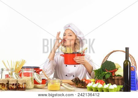 Food Preparation With Vegetables. Cook Preparing Delicious Food In Kitchen. Healthy Food Cooking, Ve