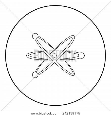 Atom  Icon Black Color In Circle Or Round Vector Illustration