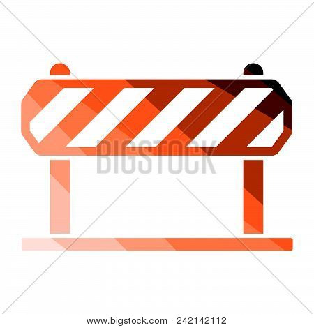 Icon Of Construction Fence. Flat Color Design. Vector Illustration.