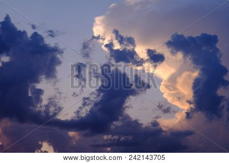 Background Sky With Clouds. Background Of Blue Sky With Blue-white Clouds. On Blue Sky There Are Clo