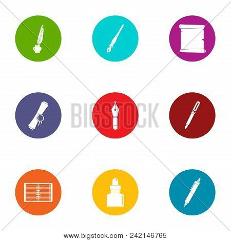 Scribe Icons Set. Flat Set Of 9 Scribe Vector Icons For Web Isolated On White Background