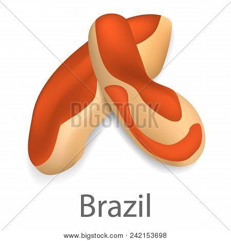 Brazil Nut Mockup. Realistic Illustration Of Brazil Nut Vector Mockup For Web Design Isolated On Whi