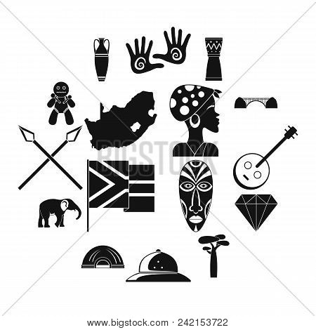 South Africa Travel Icons Set. Simple Illustration Of 16 South Africa Travel Vector Icons For Web