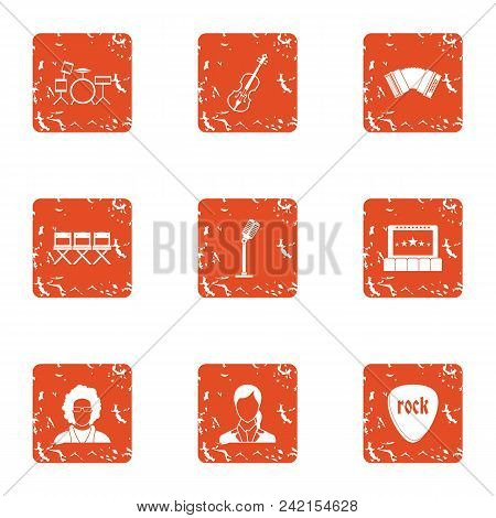 Recital Icons Set. Grunge Set Of 9 Recital Vector Icons For Web Isolated On White Background