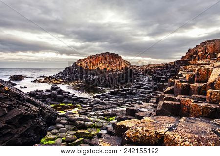 Northern Ireland, Uk. Morning View Of A Causeway Coast And Glens With Giants Causeway And Sea In Nor