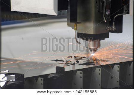 Laser cutting machine at a work