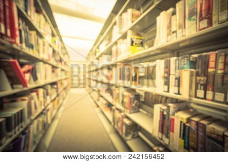 Vintage Blurred Background Of Modern Public Library In America
