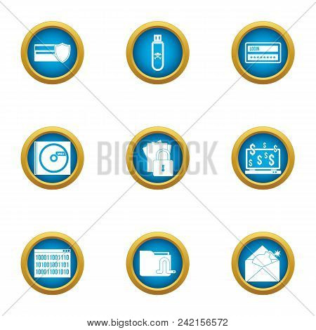 Electronic Data Icons Set. Flat Set Of 9 Electronic Data Vector Icons For Web Isolated On White Back