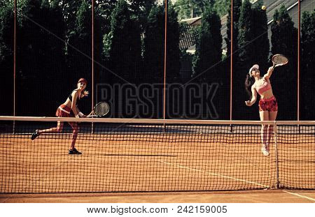 Woman Face Beauty. Sport, Training, Workout. Women Athletes Play Tennis, Training. Energy, Energetic