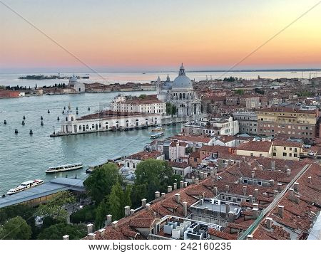 An Aerial View Of Venice Italy During From The Top Of The Famous Bell Tower.