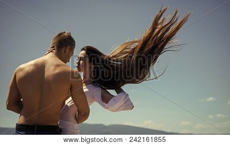 Passionate Couple Kissing, Boy And Girl. Girl And Man With Muscular Torso On Nature. Couple In Love