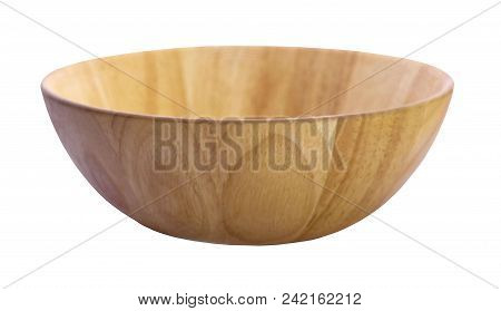 Wooden Bowl An Isolated On White Background