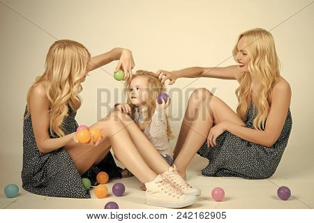 Child Childhood Children Happiness Concept. Mother And Child With Aunt, Happy Family Of Twins Women