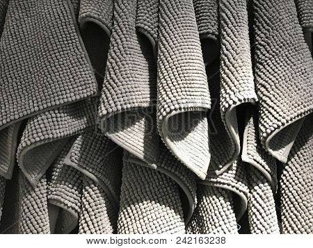 Gray Hanging Rug Or Dust Mat Or Carpet Display In Shopping Mall