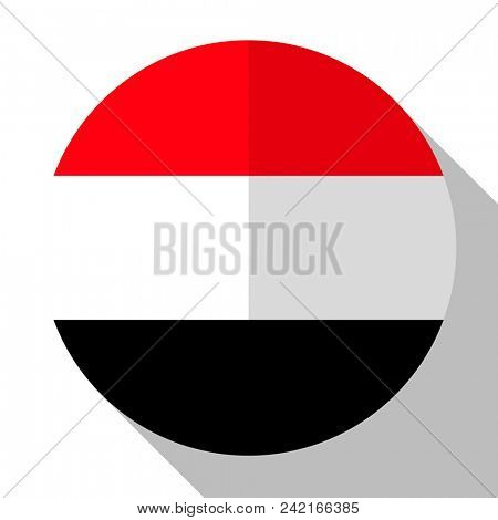 Flag Yemen - round flatstyle button with a shadow.
